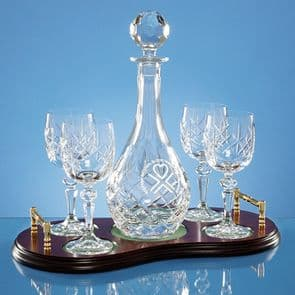 Wine Decanter and Goblets on Polished Wooden Base - 5pce